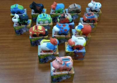 Painted piggy banks by our talented birthday celebrants.