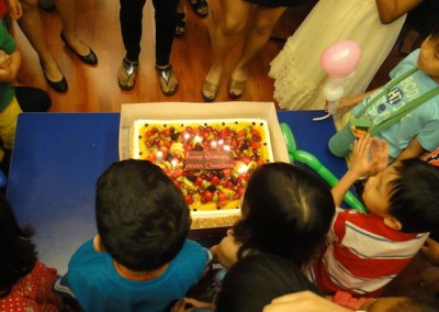 Singing Happy Birthday song for the celebrants